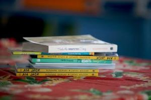 stack of susanne's books