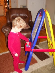 jeremy checking out his new easel
