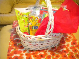 Toadstool bookstore gift basket