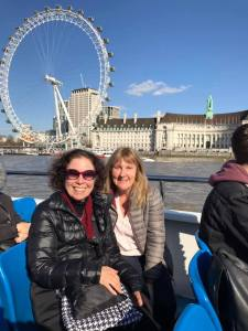 viv and julie on Thames river cruise with wheel