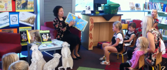 Reading Pippa's Passover Plate at the Glen Eden Library