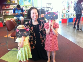 Making masks at the Glen Eden library in Auckland NZ