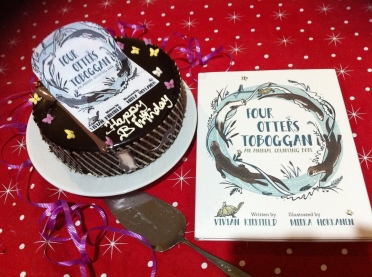 Book Birthday Cake for Four Otters Toboggan - Thank you, dear Diane!
