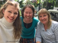 Katelyn Aronson, Julie Abery and me at flower shop cafe in Switzerland