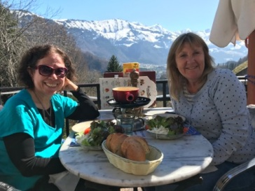 At a Fondue restaurant in Gruyere with Julie Abery
